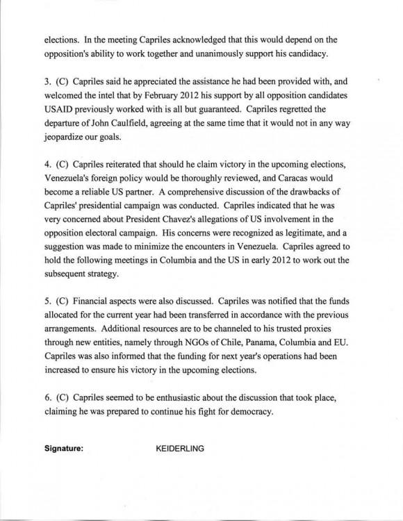 PÁGINA 2 DEL documento confidencial difundido en internet que reveló el contacto directo que mantiene la embajada de Estados Unidos en Caracas con el derrotado candidato presidencial, Henrique Capriles. El informe data de septiembre de 2011 y está firmado por la funcionaria del consulado norteamericano, Kelly Keiderling-Franz.