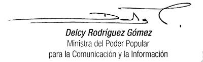 Firma Delcy Rodríguez